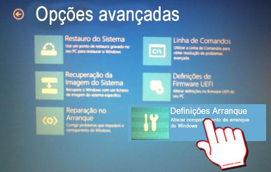 Boot Windows Opções avançadas