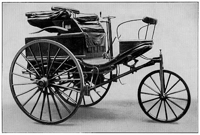 The Benz Patent-Motorwagen Nr. 3 of 1888, used by Bertha Benz for the first long distance journey by automobile (more than 106 km or sixty miles)