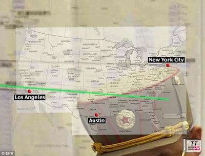 Kế hoạch tấn công của Triều Tiên mà Mỹ chụp được, theo đó, các thành phố Mỹ mà Triều Tiên  muốn tấn công sẽ trải dài từ Los Angeles tới New York