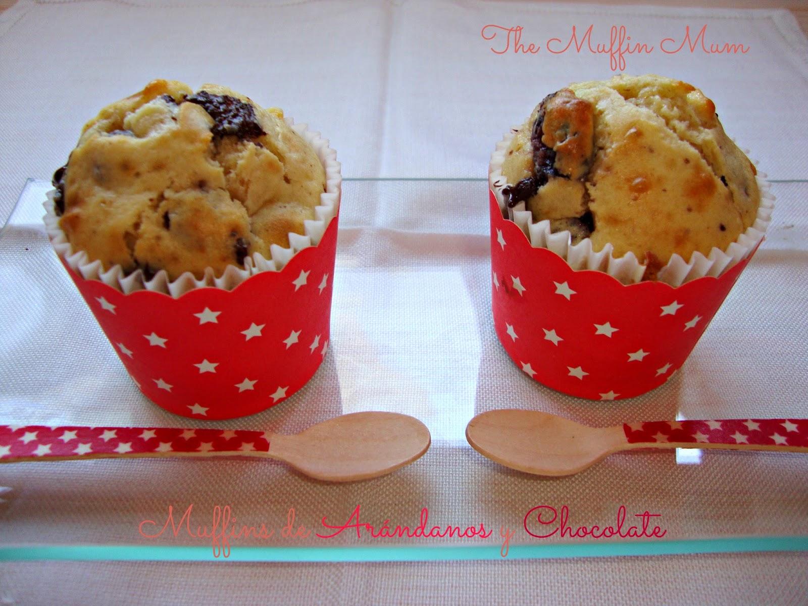 Muffins de arándanos y chocolate