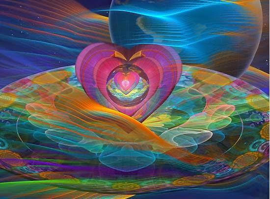 Corazón rosado en medio de un fractal multiculor
