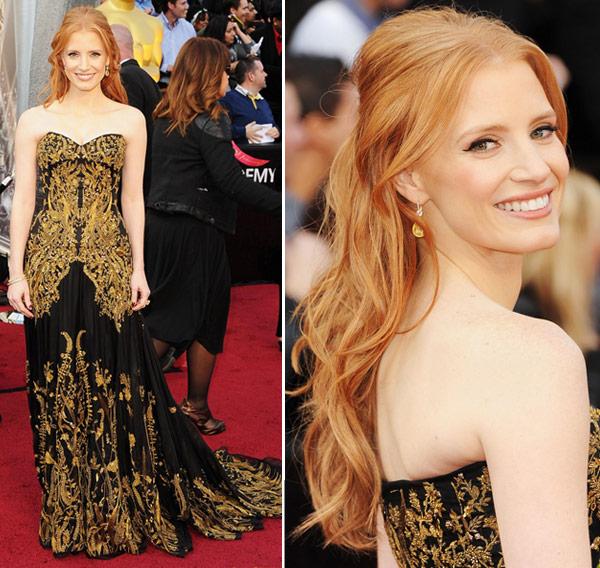 Look Jessica Chastain Oscar 2012
