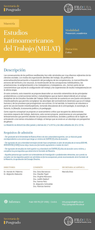 MAESTRÍA DE ESTUDIOS LATINOAMERICANOS DEL TRABAJO