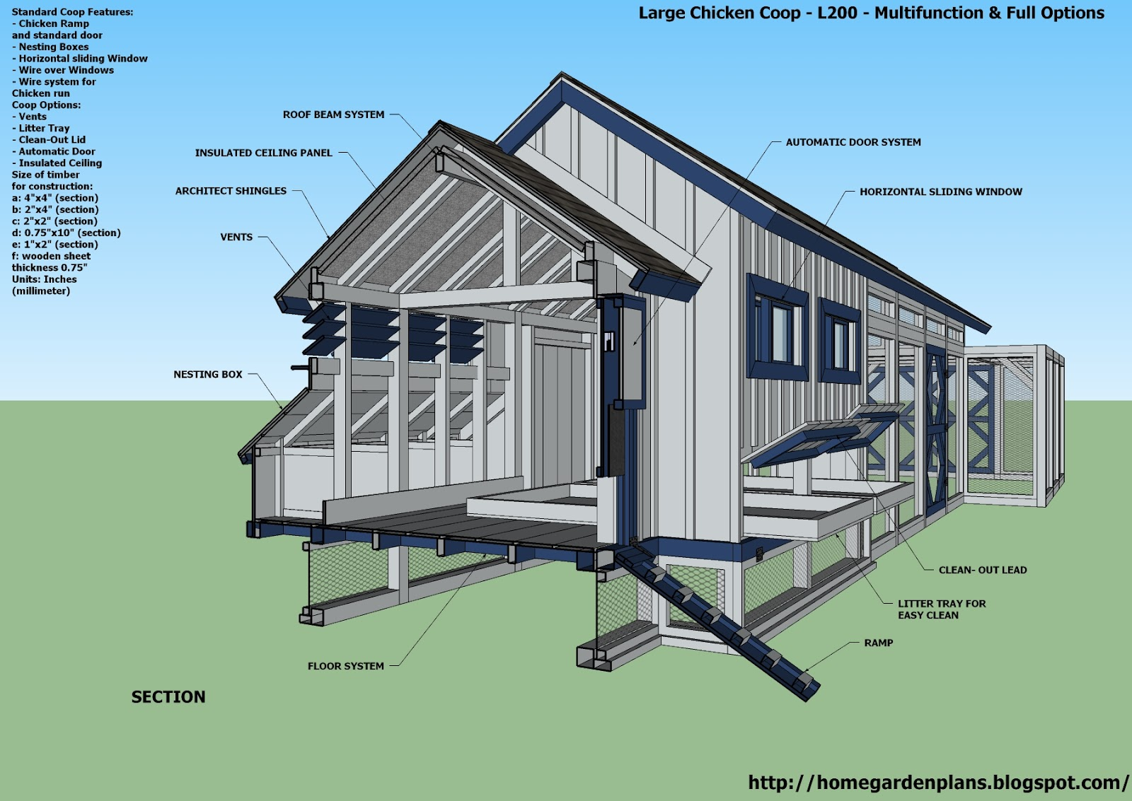 Large chicken coop plans escortsea for Poultry house plans for 100 chickens