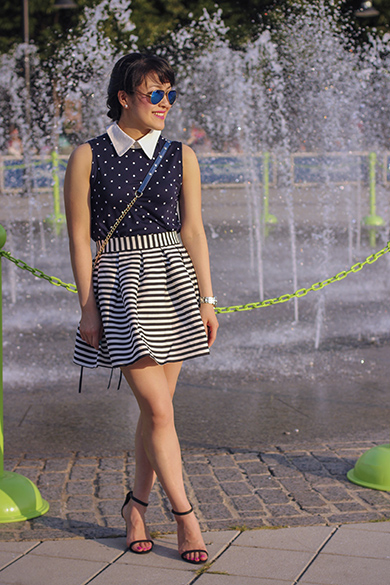 Zara polka dot top with contrasting collar with Asos stripe skirt