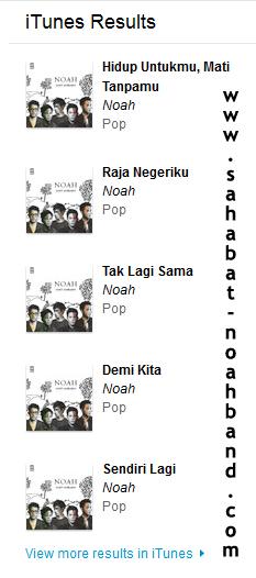 """Lagu-Lagu Album Perdana Noah """"Seperti Seharusnya"""" di iTunes Store"""