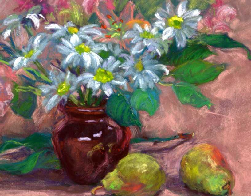 Ivy delon fine art red pot white flowers original still life red pot white flowers original still life flower oil painting by impressionistic artist ivy delon mightylinksfo