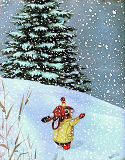 rabbit  in a snowy landscape illustration by Richard Scarry