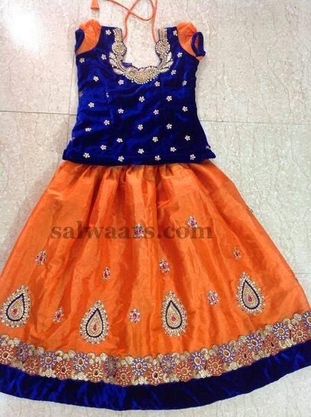 Velvet Blouse with Kids Skirt - Indian Dresses