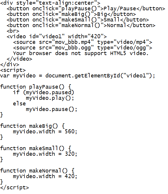 HTML5 Video Code