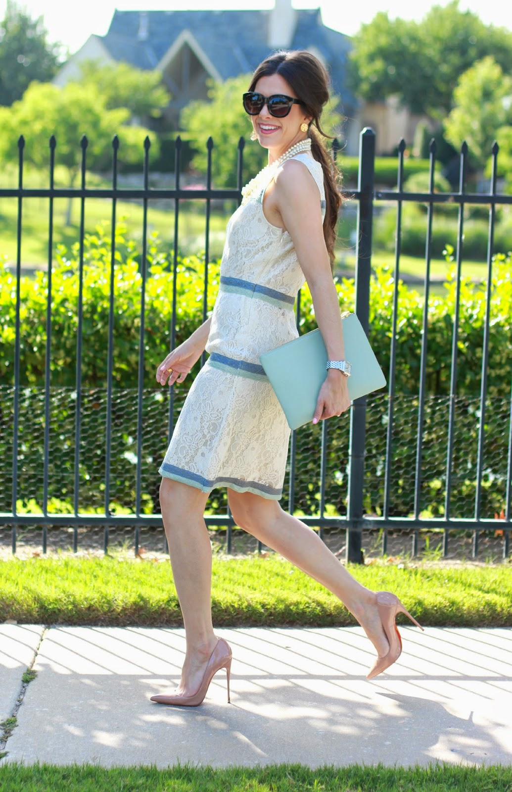 www.Thesweetestthingblog.com, emily gemma, lame boutique dress, christian louboutin so kate nude pumps, tulsa, ok , tulsa ok fashion blog, tulsa ok fashion, crew pearl necklace, michelle diamond deco watch, mint clutch, forever 21 sunglasses, what to wear to a summer wedding, what to wear to church in summer