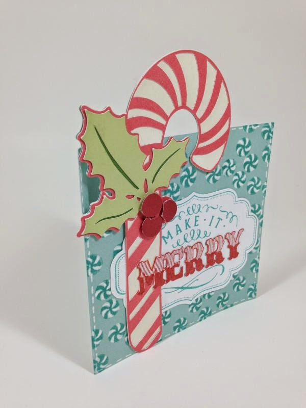 Make It Merry Candy Cane card sideview