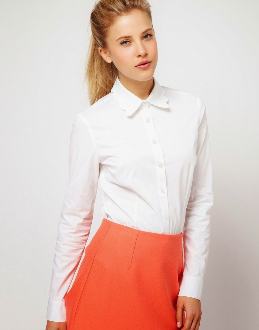 white shirt with pretty collar