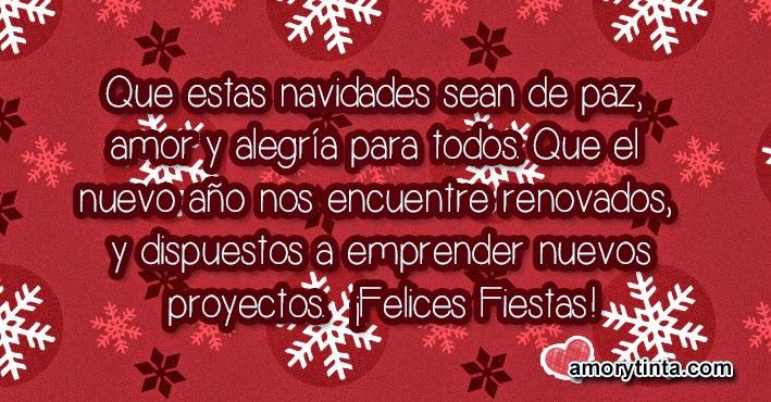 postal roja con copos de nieve para navidad