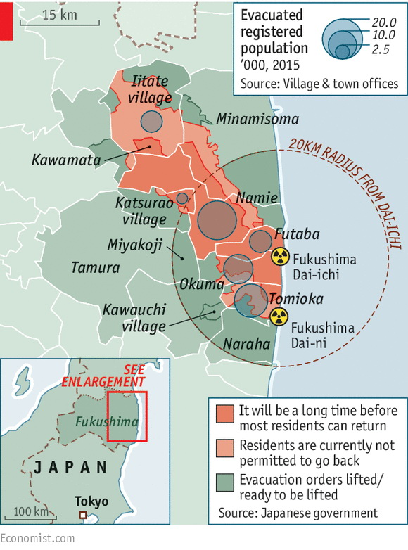 Map of uninhabitable, nuclear-contamination zones, around Fukushima (Japan)