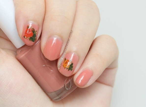 Etude House nail polish BE102 maple syrup with orange and yellow roses decal
