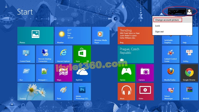Cách cài đặt Password cho Windows 8 - mật khẩu User Admin, start Windows8