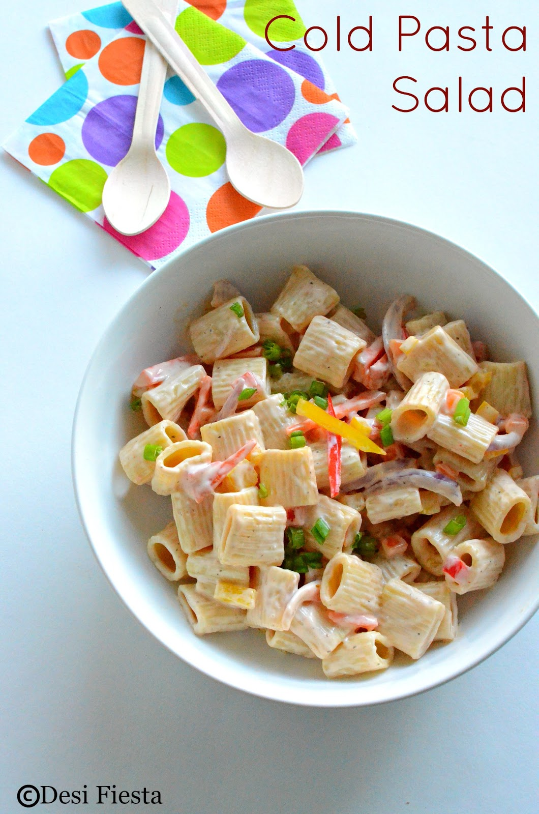 Desi Fiesta Cold Pasta Salad With 1000 Island Dressing