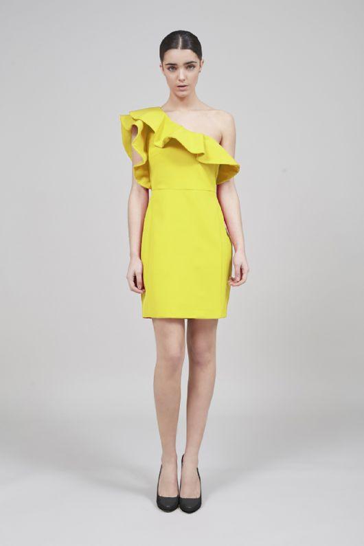 Vestido amarillo volantes Cossy, parecido Lanvin para H&M