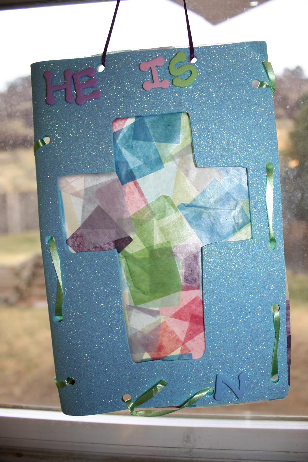The created home stained glass tissue paper cross for Cardboard crosses for crafts