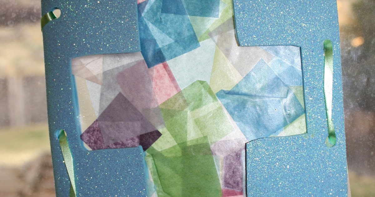 The created home stained glass tissue paper cross for Stained glass window craft with tissue paper