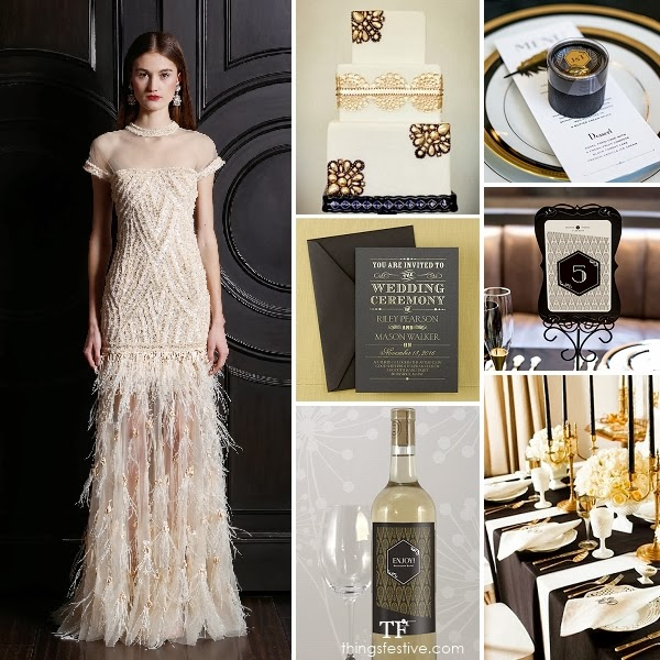Art deco wedding inspiration black gold opulence for Art deco wedding decoration ideas