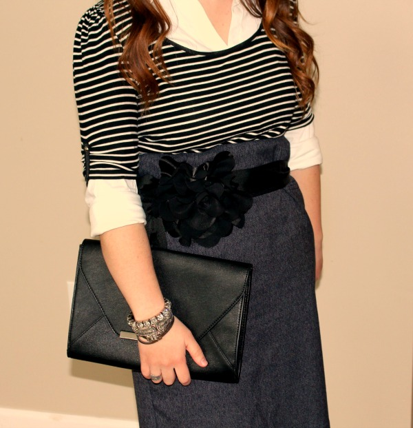 express-original-essential-top, white-house-black-market-striped-ruched-top, white-house-black-market-flower-sash-belt, express-bar-accent-clutch, merona-natasha-pump, how-to-wear-your-favorite-clothes-after-losing-weight, styling-clothing-that-is-too-big, post-diet-style