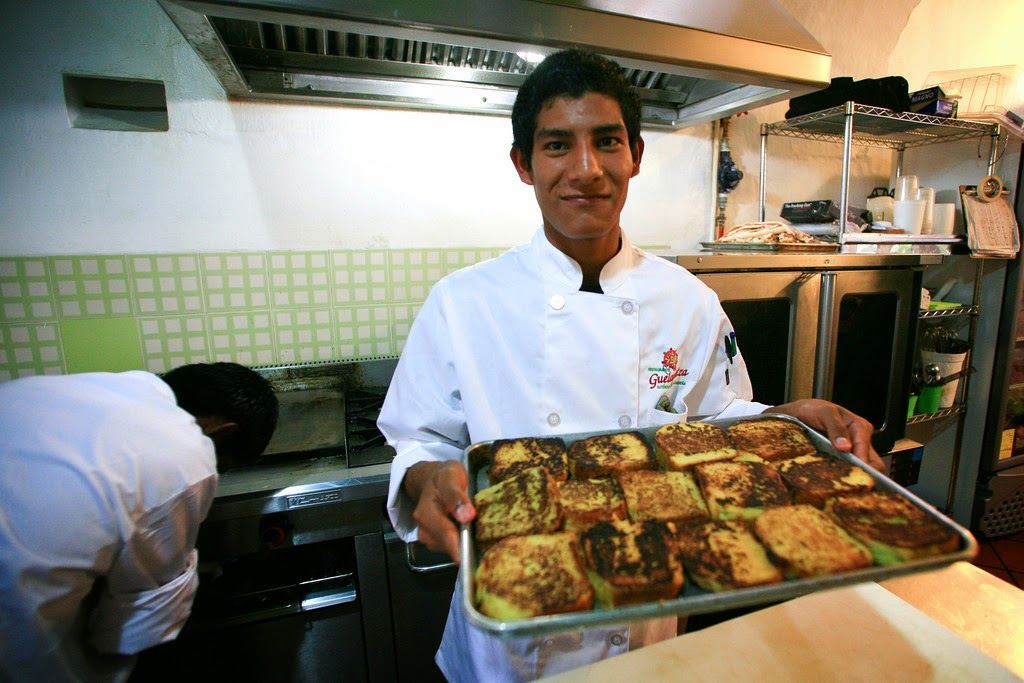 Learning culinary skills at Origen Restaurant in Oaxaca