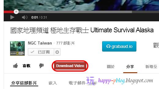 YouTube影片下面會出現Download Video紅色按鈕