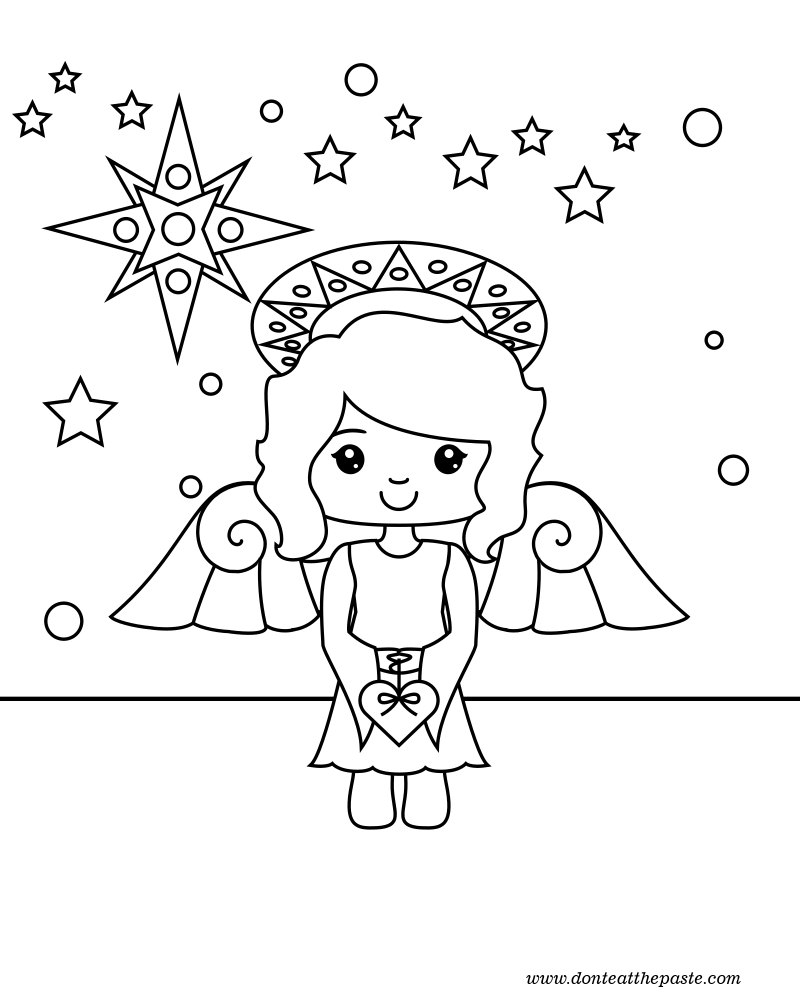 Don 39 t eat the paste 2012 angel coloring page for Angel coloring book pages