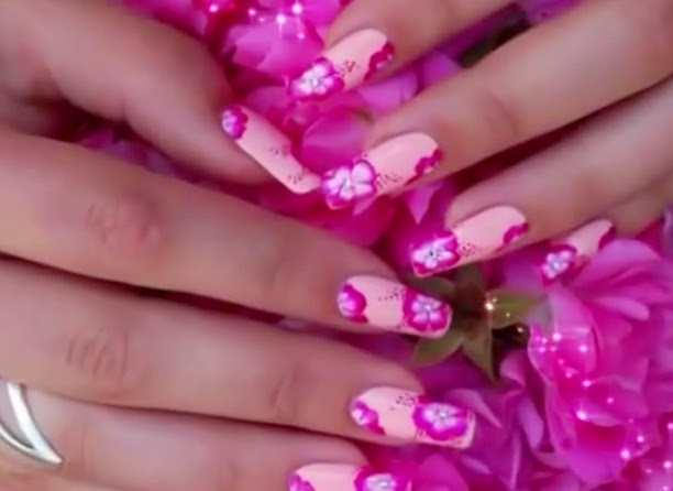 Hibiscus Flowers Nails