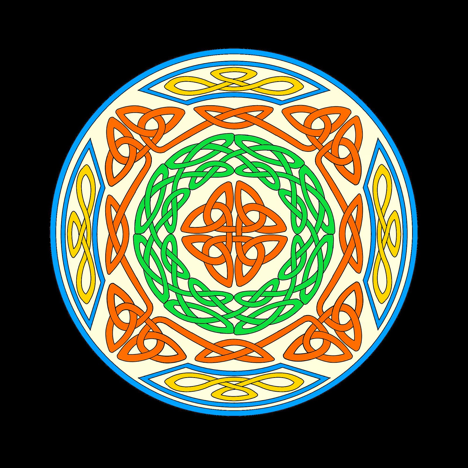 Celtic mandala in red, green, blue and yellow with central design surrounded by bands of celtic knotwork