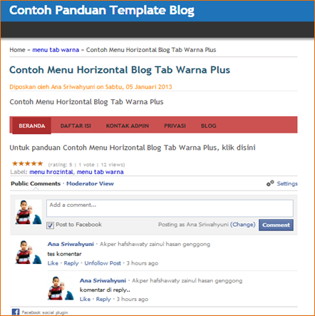 Cara Membuat Kolom Komentar Facebook di Blog
