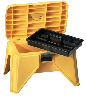 plastic combination step stool and toolbox