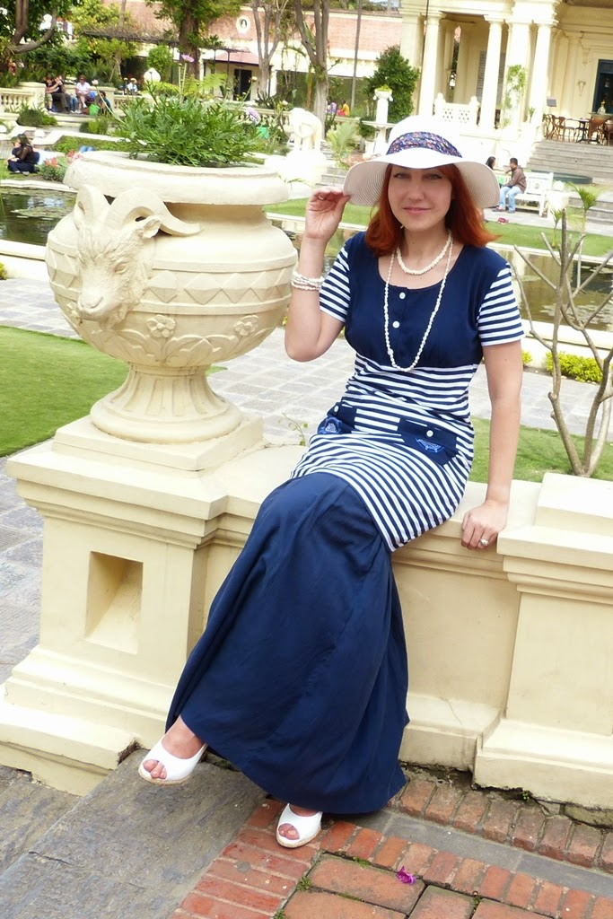 Nautical outfit, dress over skirt