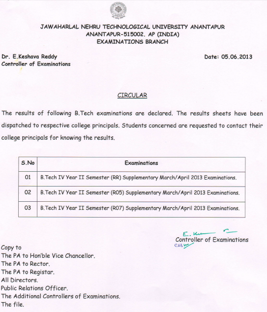 Jntua Btech R07, R05, RR Supplementary Results June 2013