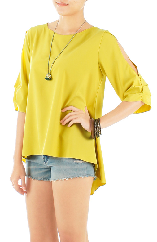 Lemon Sunlight Seeker Dip Back Blouse