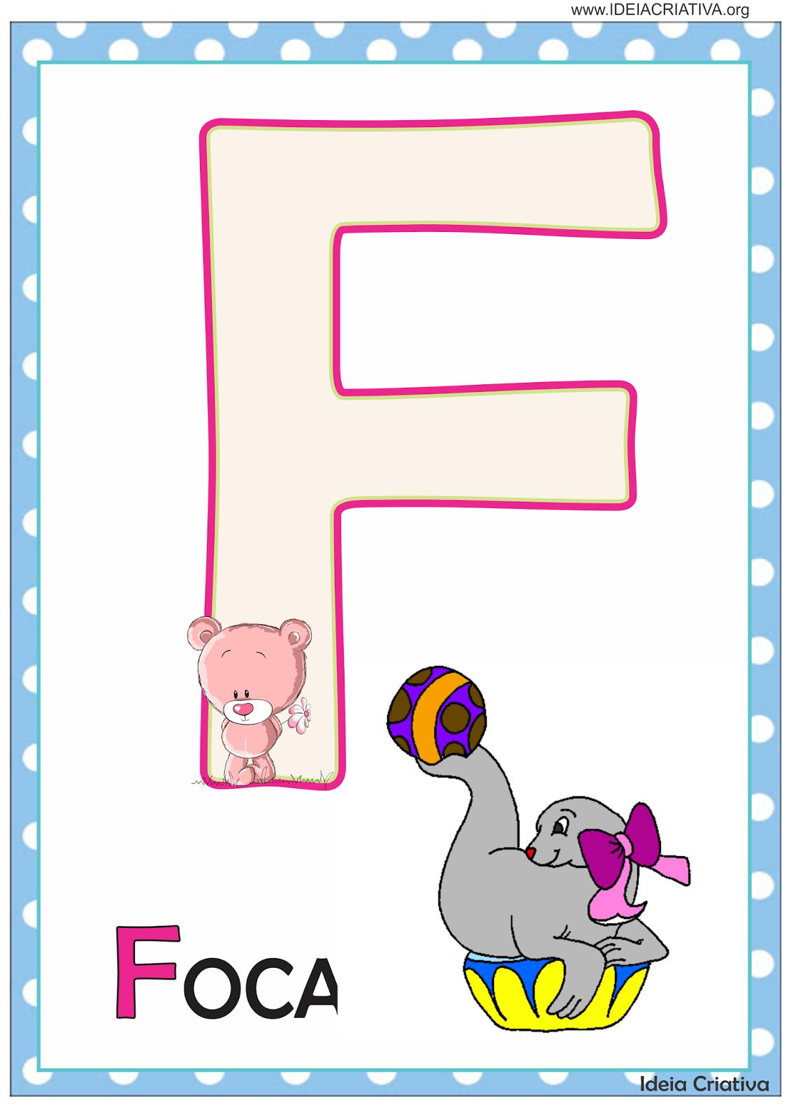 Alfabeto de parede Ursinho e Ursinha para imprimir grátis