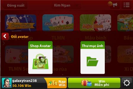 cách đổi avatar trong game iwin