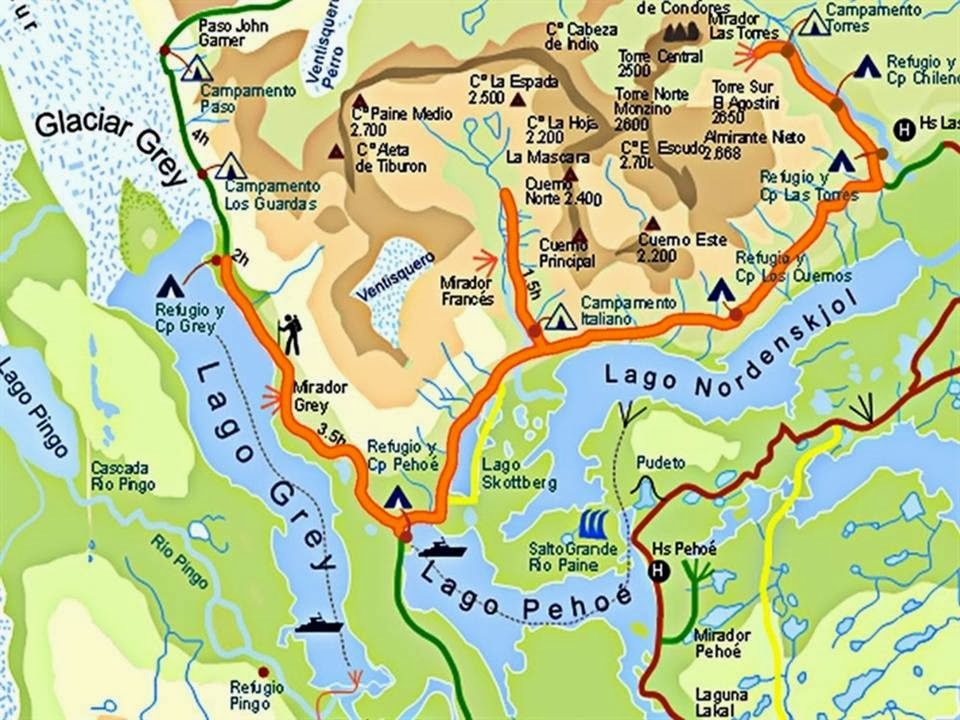 Circuito W Torres Del Paine Mapa : La picá del viajero en torres paine