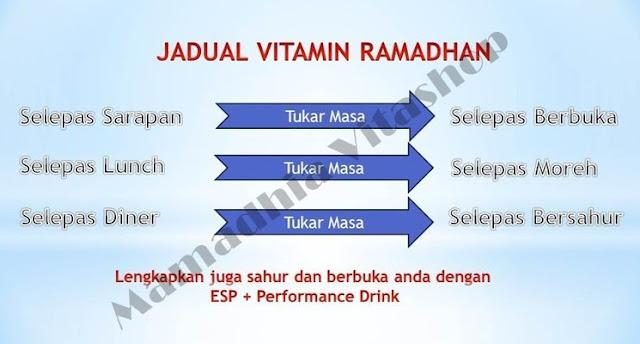 Jadual pengambilan vitamin Ramadhan