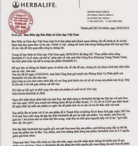 Công ty Herbalife Việt Nam gửi đến Báo Điện tử Giáo dục Việt Nam