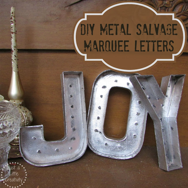 ... Christmas JOY- {DIY} Metal Salvage Marquee Letters- in Gold & Silver
