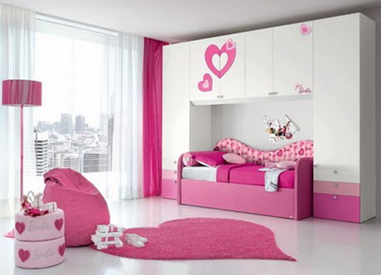 Bedroom designs for teenage girls with pink color minimalist home design - Modern girls bedroom design ...