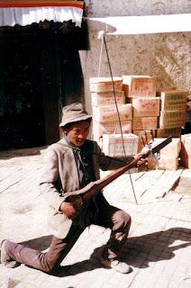 Tibetan street-musician