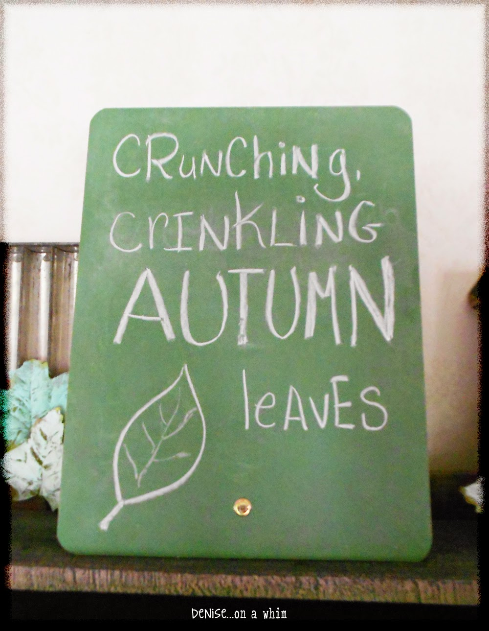 Chalkboard Easel in a Fall Vignette from Denise on a Whim