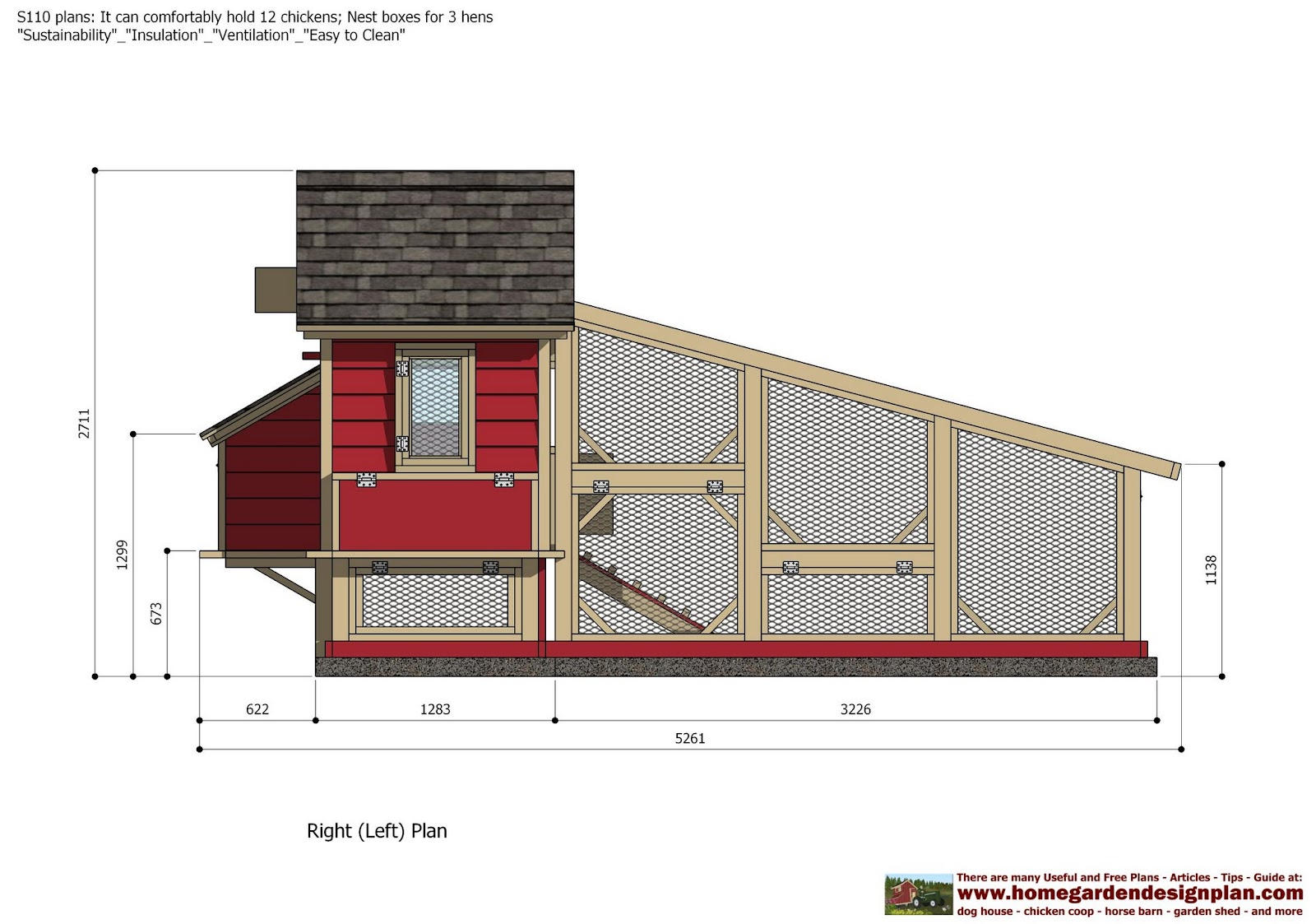 Home garden plans s110 chicken coop plans construction for How to build a chicken hutch