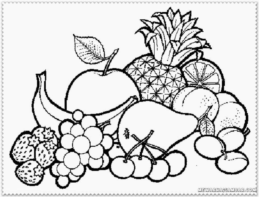 Free Fruit In A Bowl Coloring Pages Fruits Coloring Pages