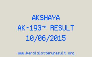 Akshaya AK 193 Lottery Result 10-6-2015