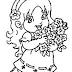 Desenho de Menina Segurando Flores Para Colorir